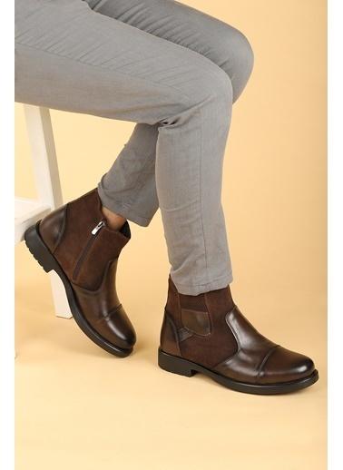 Ayakland Ayakland 640 Termo Taban ıçi Kürklü Fermuarlı Erkek Bot Ayakkabı Kahve